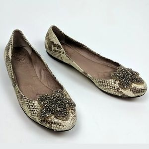 Vince Camuto Embellished Jewelled Flower Snakeskin